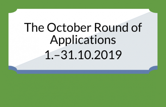 The October round of Applications is 1.-31.10.2019