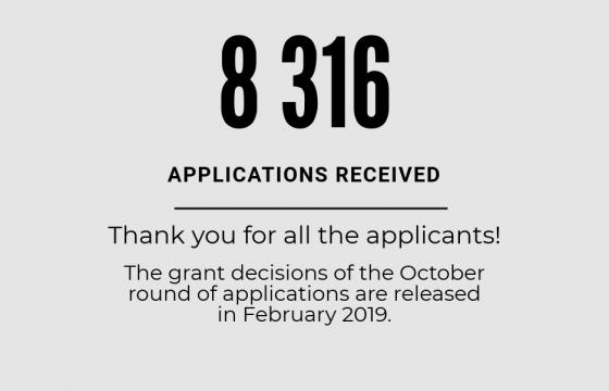 The October round of applications has ended. We received 8316 applications.