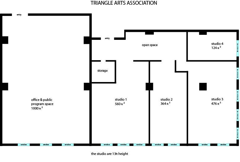 Floorplan of Office and Studios - Triangle Arts Association